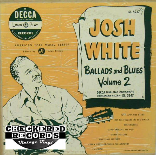 Josh White Ballads and Blues Volume 2 1950 US Decca DL 5247 Vintage Vinyl Record Album