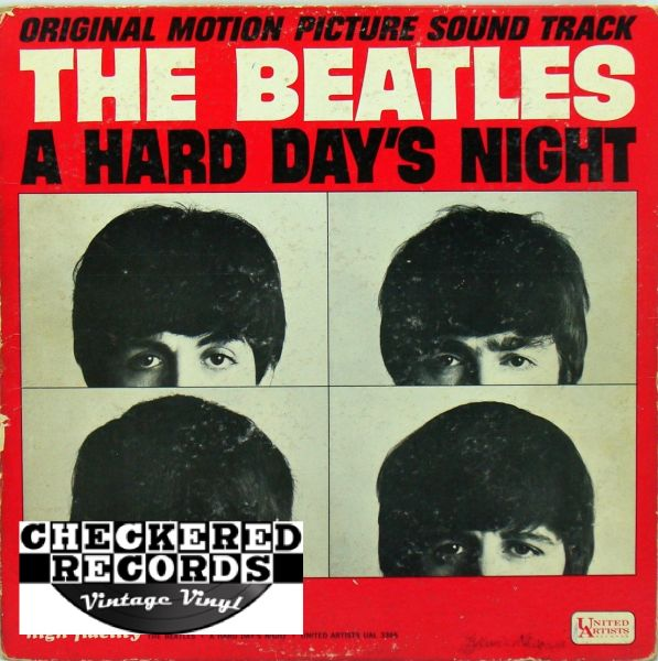 The Beatles A Hard Day's Night Original Motion Picture Sound Track MONO First Year Pressing 1964 US United Artists Records UAL 3366 Vintage Vinyl Record Album