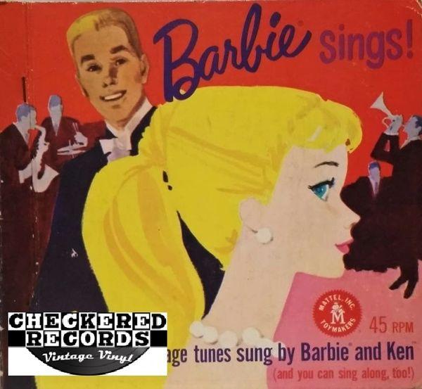 "Barbie Sings! First Pressing 1961 US Mattel 840 7"" 45 RPM Box Set Vintage Vinyl Record Album"