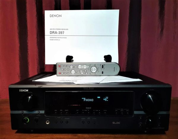 2001 Denon DRA-397 AM/FM Audio Video Stereo Receiver With Turntable Hook Up PHONO Inputs