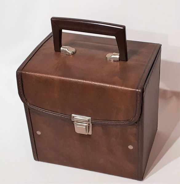 Vintage 1980s Brown Faux Leather 45 RPM Record Case 45 RPM Storage Box 45 RPM Record Holder