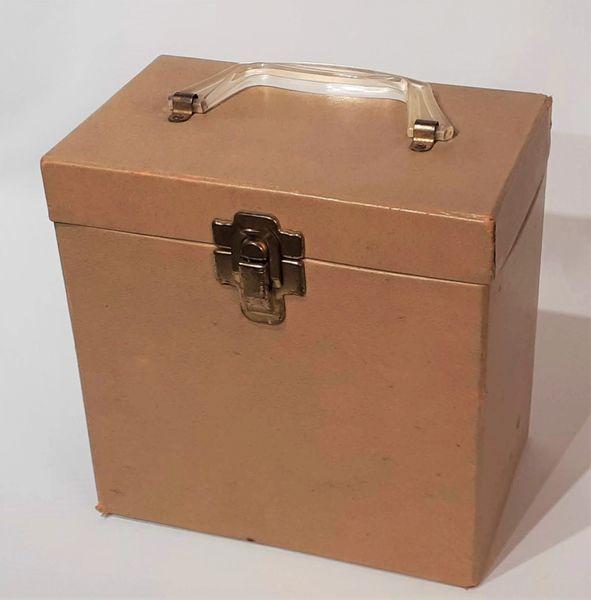 Vintage 1960s Beige Brown Amfile Platter-Pak 45 RPM Record Case 45 RPM Storage Box 45 RPM Record Holder