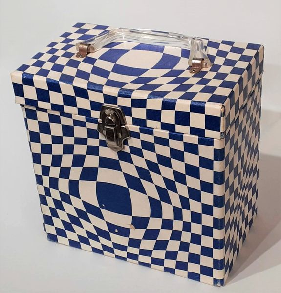 Vintage 1960s Blue White Checkered Platter-Pak No. 740 45 RPM Record Case 45 RPM Storage Box 45 RPM Record Holder