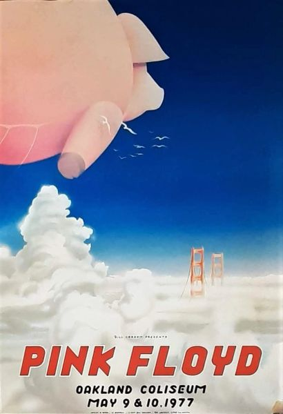 Authentic Original 1st Printing 1977 Pink Floyd Oakland Coliseum May 1977 Concert Poster With Certification