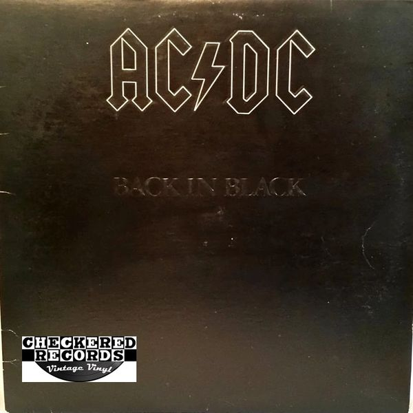 AC/DC Back In Black First Year Pressing GREY COVER 1980 US Atlantic SD 16018 Vintage Vinyl Record Album