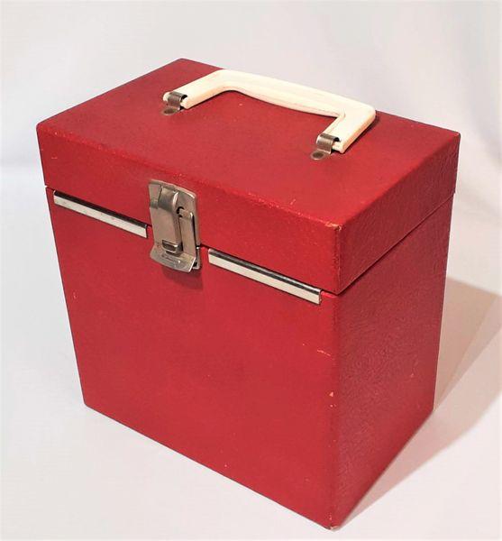 Vintage 1950s Chrome Trim Red Patent Leather 45 RPM Record Case 45 RPM Storage Box 45 RPM Record Holder
