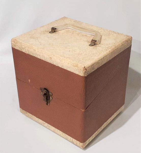 Vintage 1950s Brown Patent Leather 45 RPM Record Case 45 RPM Storage Box 45 RPM Record Holder