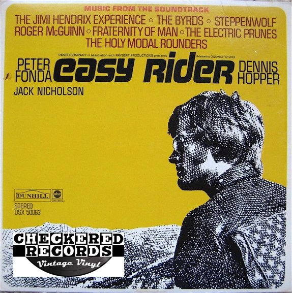 Vintage Easy Rider Soundtrack First Year Pressing 1969 US ABC Dunhill Records DSX 50063 Vintage Vinyl LP Record Album