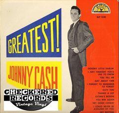 Vintage Johnny Cash Greatest! Label: Sun Records Sun SLP 1240, LP 1240 Vintage Vinyl LP Record Album
