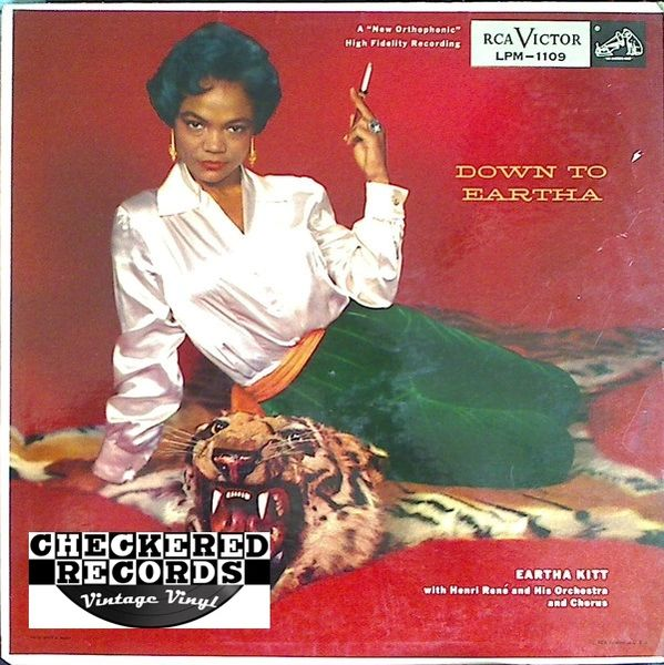 Vintage Eartha Kitt Down To Eartha First Year Pressing 1955 US RCA Victor ‎LPM 1109 Vintage Vinyl LP Record Album