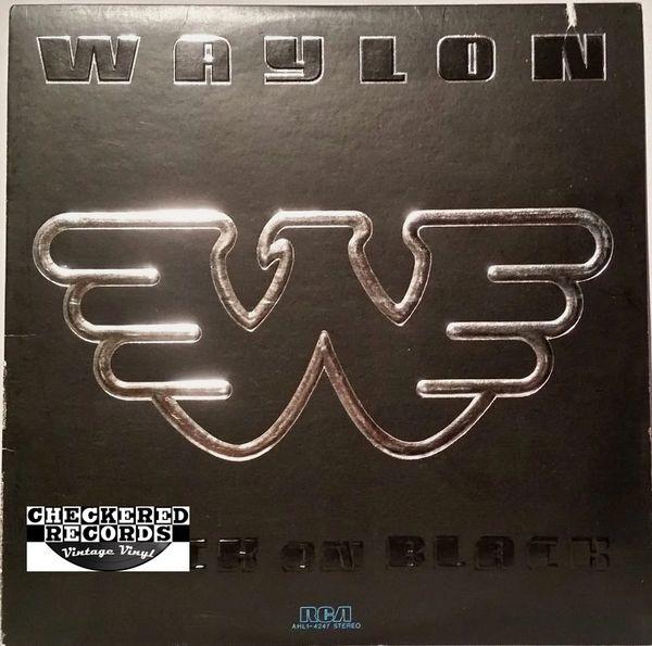 Vintage Waylon Jennings Black On Black First Year Pressing 1982 US RCA AHL1-4247 Vintage Vinyl LP Record Album
