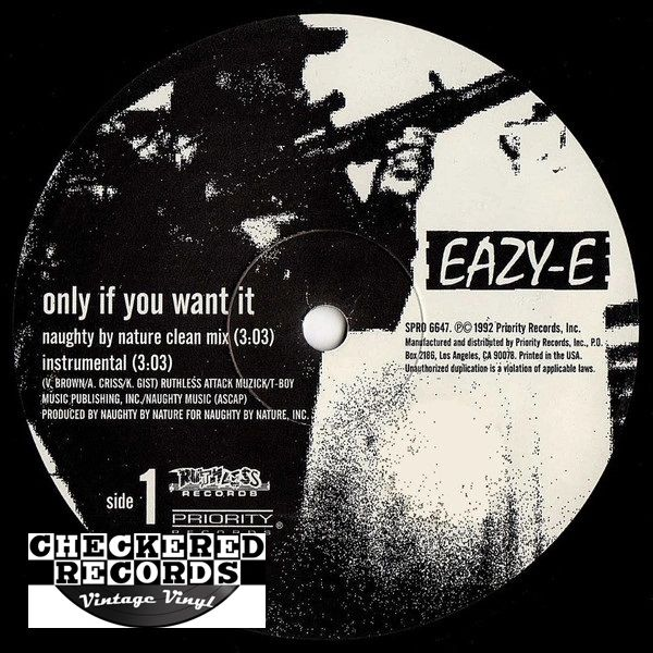 """Vintage Eazy-E Only If You Want It / Neighborhood Sniper Promo 12"""" Promo First Year Pressing Ruthless Records SPRO 6647 Vintage Vinyl LP Record Album"""