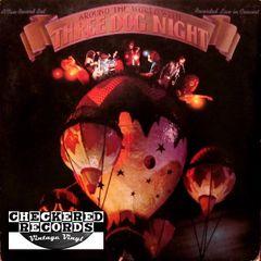 Vintage Three Dog Night Around The World With Three Dog Night First Year Pressing US ABC/Dunhill Records DSY-50138 Vinyl LP Record Album