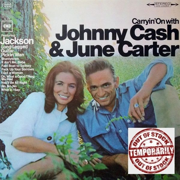 Vintage Johnny Cash & June Carter Carryin' On With First Year Pressing 1967 US Columbia CS 9528 Vintage Vinyl LP Record Album