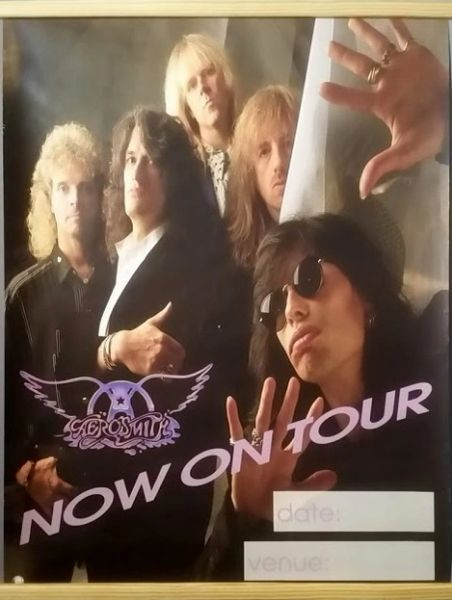 Vintage 1989 Aerosmith Now On Tour Promotional Tour Poster