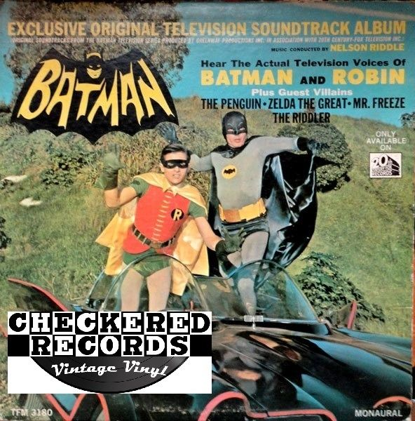 Vintage Nelson Riddle Exclusive Original Television Soundtrack Album From The Batman Television Series First Year Pressing Monaural 1966 US 20th Century Fox Records TFM 3180 Vintage Vinyl LP Record Album