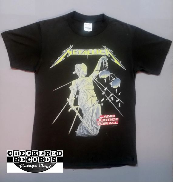 Vintage 1988 Metallica And Justice For All Hammer Of Justice Crushes You Concert Tour T-Shirt Spring Ford Classic Sportswear T-Shirt Medium