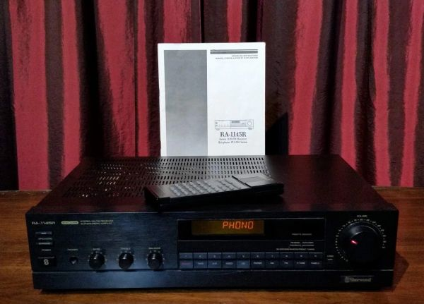 Vintage 1990 Sherwood RA-1145R AM/FM Stereo Receiver With Turntable Hook Up PHONO Hook Up Manual And Remote