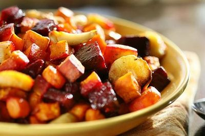 Roasted beets, sweet potato, turnips, garlic, butternut squash, potato, and red onion in olive oil,