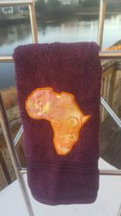Plum Hand Towel with Mosiac Batik Africa