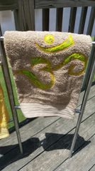 Khaki Bath Towel with Lime Lotus
