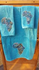 Tropical Blue Africa Three piece Towel Set