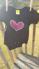 Black Baby Onesie with Purple Heart