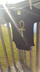 Black baby Onesie with Green Ankh