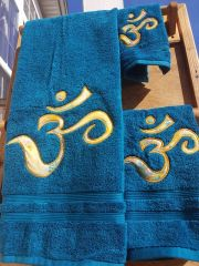 Turquoise Om Three Piece Towel Set