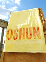 Oshun - Yellow Bath Towel with Tye Dye