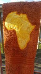 Rust hand towel with yellow Batik Africa