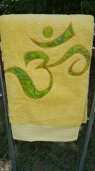 Yellow Bath Towel with Lime Om