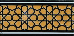 "4""x8"" Turkish Iznik Geometric Pattern Ceramic Corner Tile"