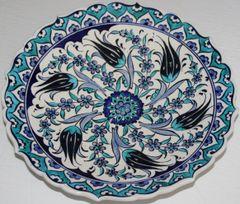 "10"" Blue & White Turkish Iznik Carnation & Tulip Pattern Plate"