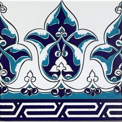 "Blue Turkish 8""x8"" Iznik Floral Pattern Border Ceramic Tile"