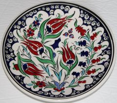 "7"" (18cm) Handmade Turkish Iznik Red Tulip & Floral Pattern Ceramic Plate"