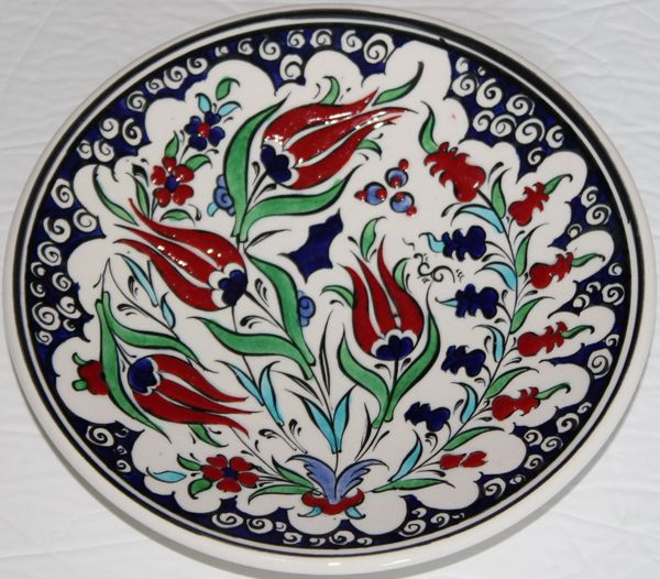 "7"" (18cm) Handmade Turkish Iznik Red Tulip & Floral Pattern Ceramic Plate"