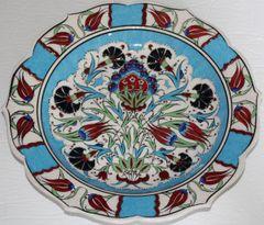 "Custom Handmade 12"" Turkish Iznik Carnation & Floral Pattern China Plate"