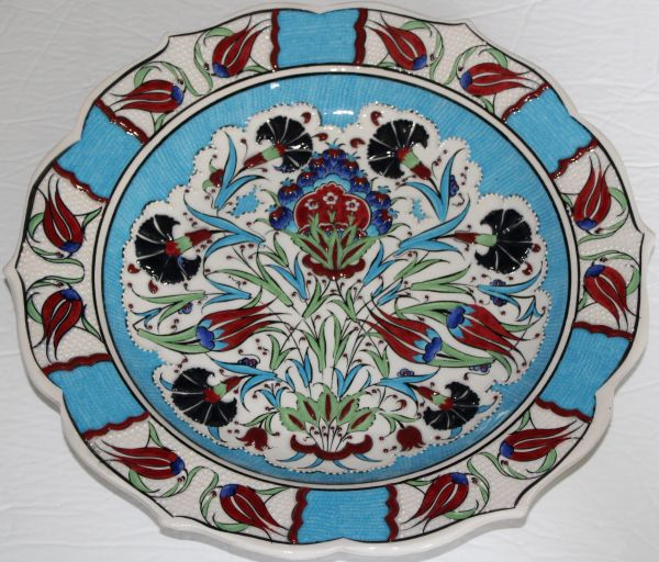 "Custom Handmade 12"" Turkish Iznik Carnation & Floral Pattern China Plate"