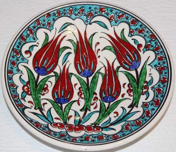 "7"" (18cm) Turkish Iznik Red Tulip & Floral Pattern Ceramic Plate"
