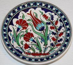 "7"" (18cm) Turkish Iznik Red Carnation, Tulip & Floral Pattern Ceramic Plate"