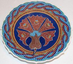 "Handmade 12"" Turkish Iznik Mosaic Carnation & Floral Pattern Ceramic Plate"