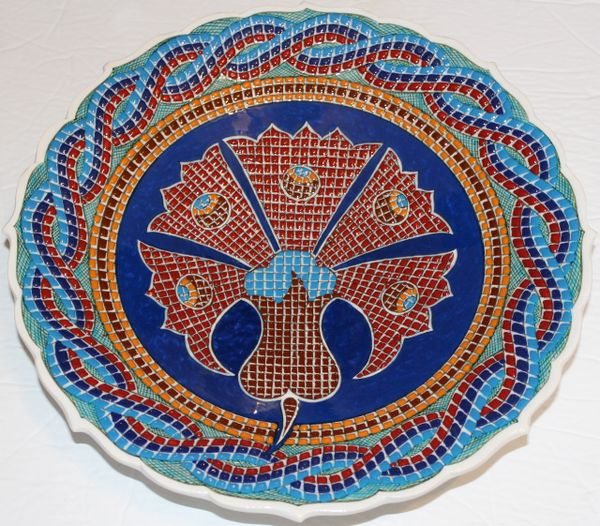 "Handmade 12"" Turkish Iznik Mosaic Carnation & Floral Pattern Ceramic Plate"