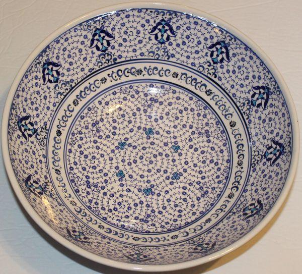 "Handmade 12""x4"" Turkish Blue & White Iznik Floral Pattern Ceramic Bowl"