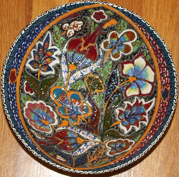 "10""x3 1/2"" Turkish Handmade Iznik Raised Floral Pattern Fine China Bowl"