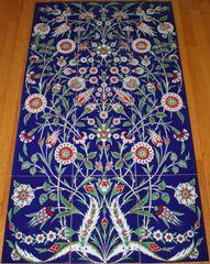 "Turkish 52""x30"" Cobalt Blue Iznik Floral Pattern Handmade Ceramic Tile PANEL Mural"