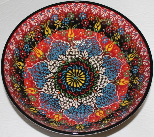 "10""x4"" Handmade Turkish Iznik Raised Floral Pattern Ceramic Bowl"