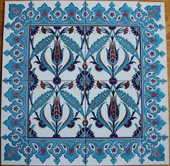 "24""x24"" Turkish Iznik Tulip & Floral Pattern Ceramic Tile Mural Panel"