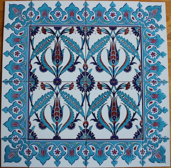 "24""x24"" Turkish Iznik Tulip & Floral Pattern Ceramic Tile Mural Panel"