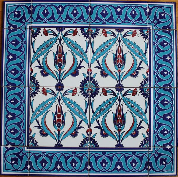 "24""x24"" Turkish Iznik Floral Pattern Ceramic Tile Mural Panel"